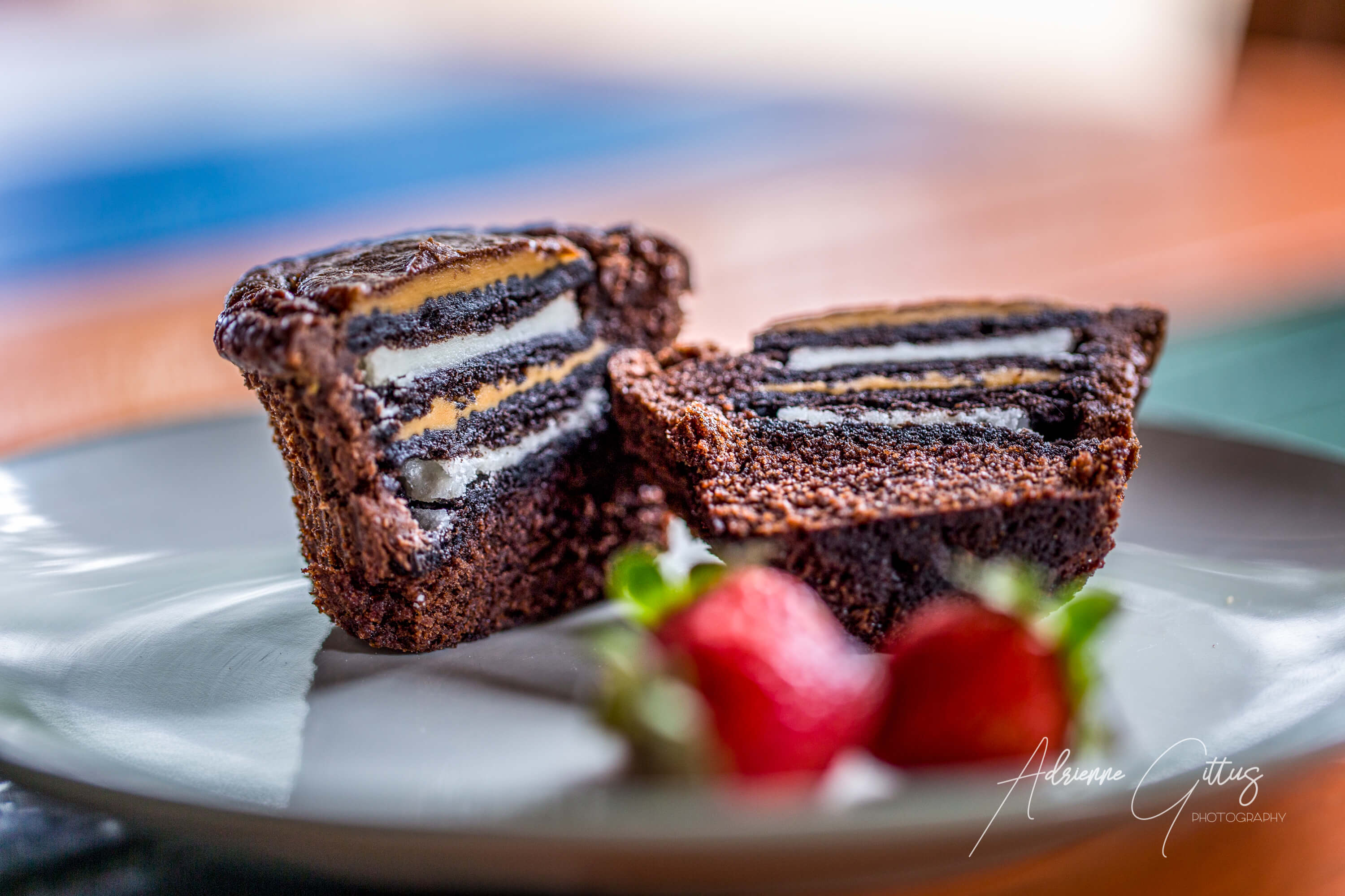Peanut butter chocolate brownies on a plate, delicious