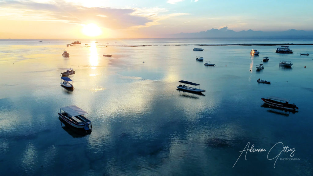 Sunset, Nusa Lembongan, Bali, Indonesia, drone, aerial, reflection, blue and gold