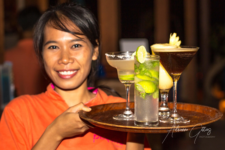 Cocktails anyone? Pesona Resort and Spa, Gili Trawangan, Indonesia, cocktail waitress, margarita, espresso martini, pina colada, mojito