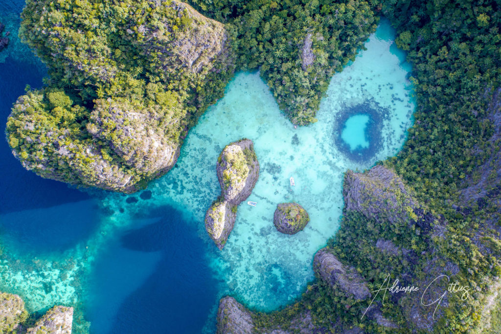 heart shaped lagoon, Wayil, Raja Ampat, Indonesia, drone, aerial