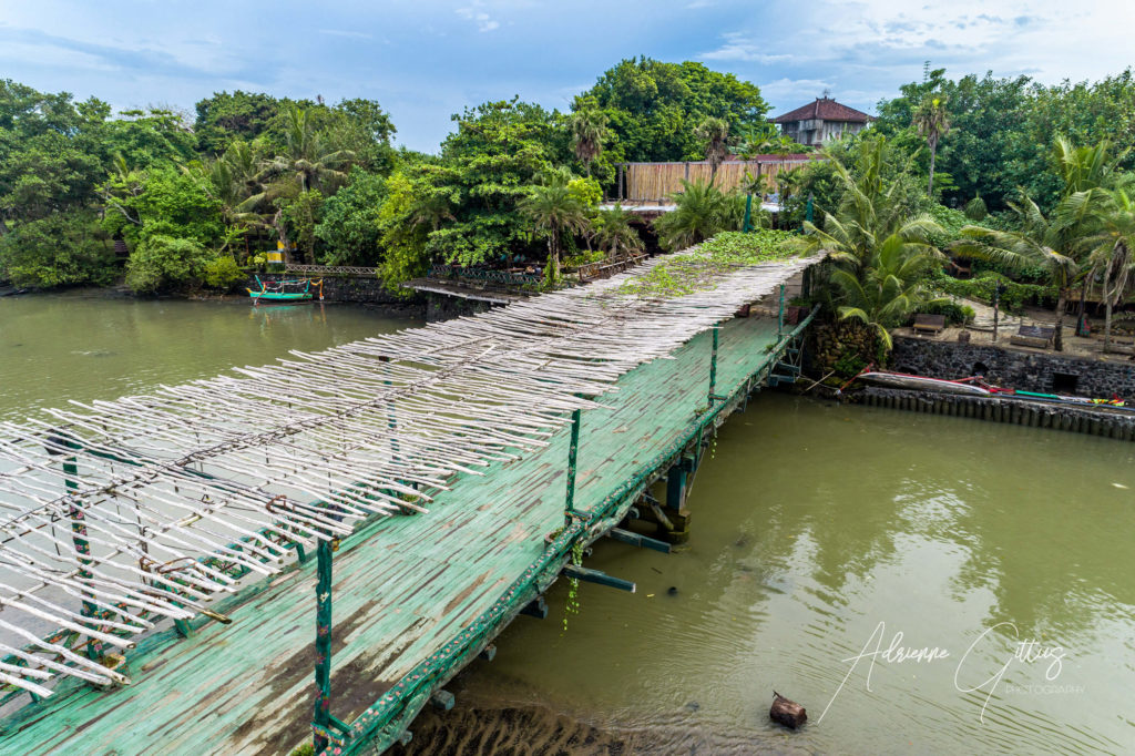 Bridge over estuary, Bali, Indonesia, reflection, drone, aerial
