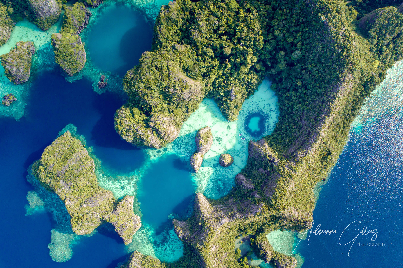 drone heart-shaped lagoon, Wayil, Raja Ampat