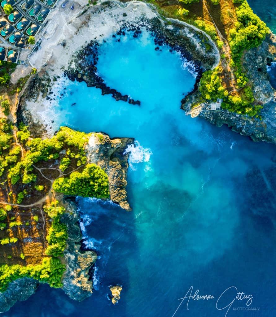 drone shot of blue lagoon, Ceningan, Indonesia