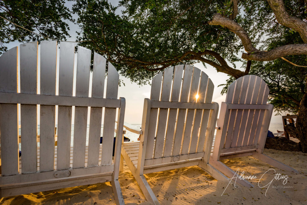 Indonesia, Gili Teak beach chairs, sunset, relax