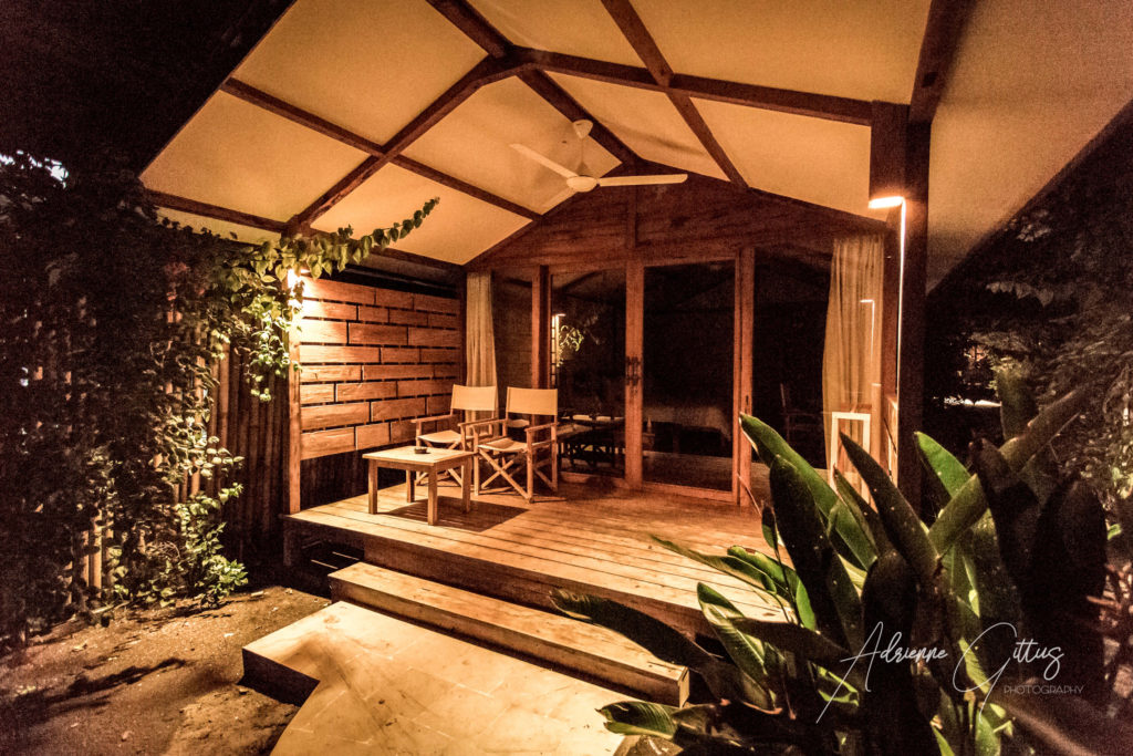 Gili Teak Bungalows, porch at night, traditional wooden style
