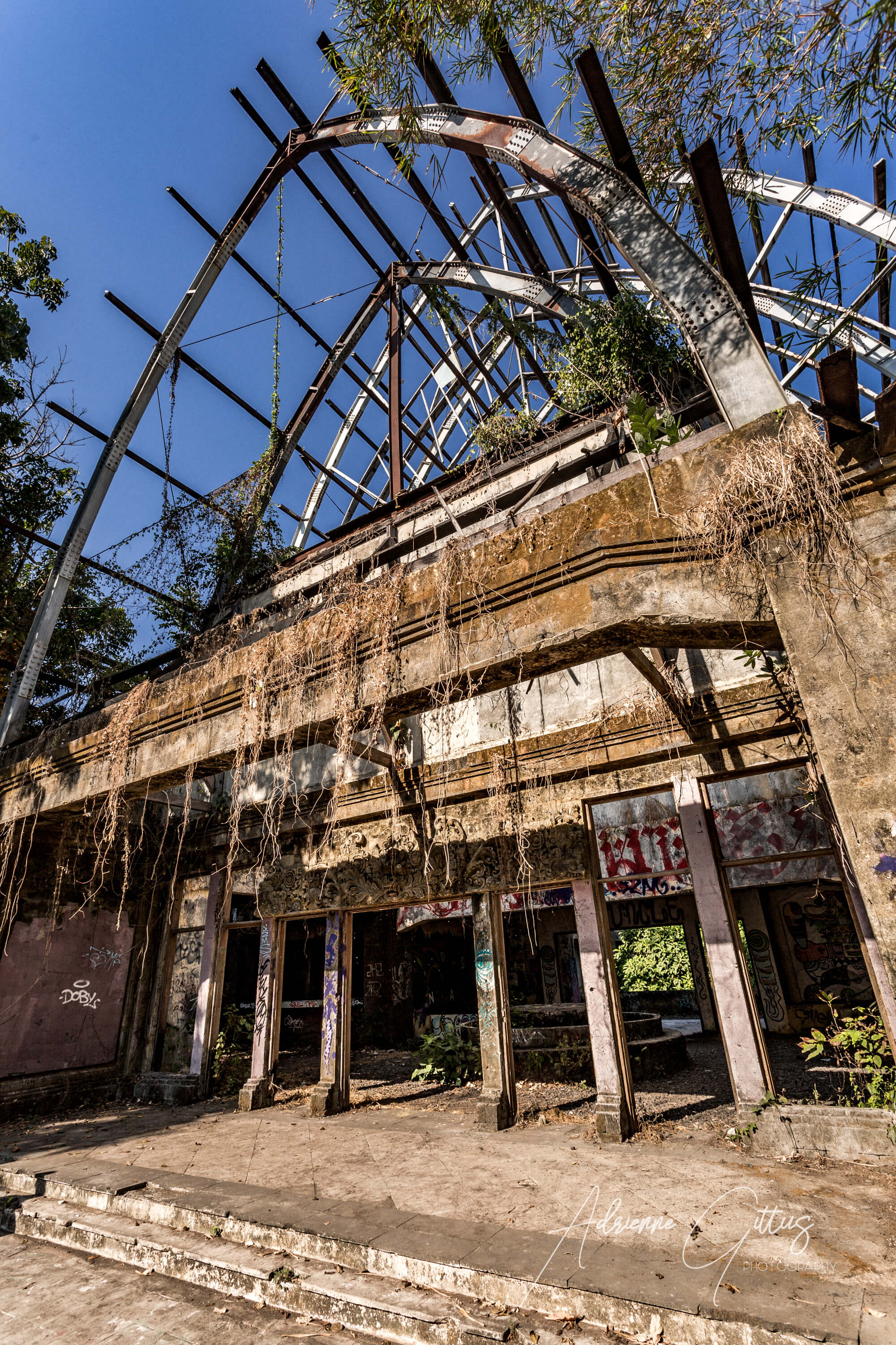 Taman Festival Abandoned Theme Park, Bali, overgrown building, jungle, reclaimed by nature