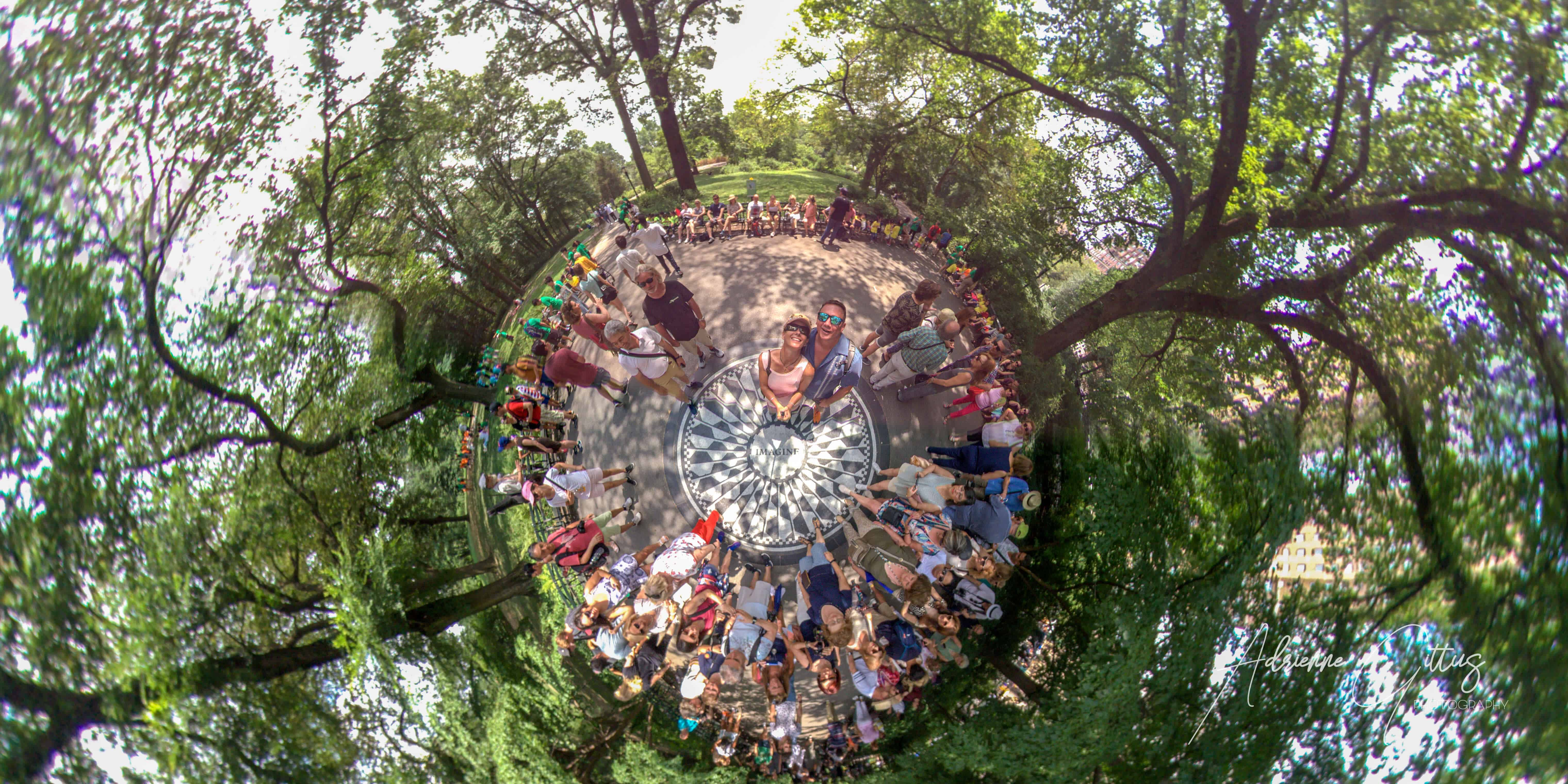 360 tiny planet, John lennon memorial, imagine, central park, new york