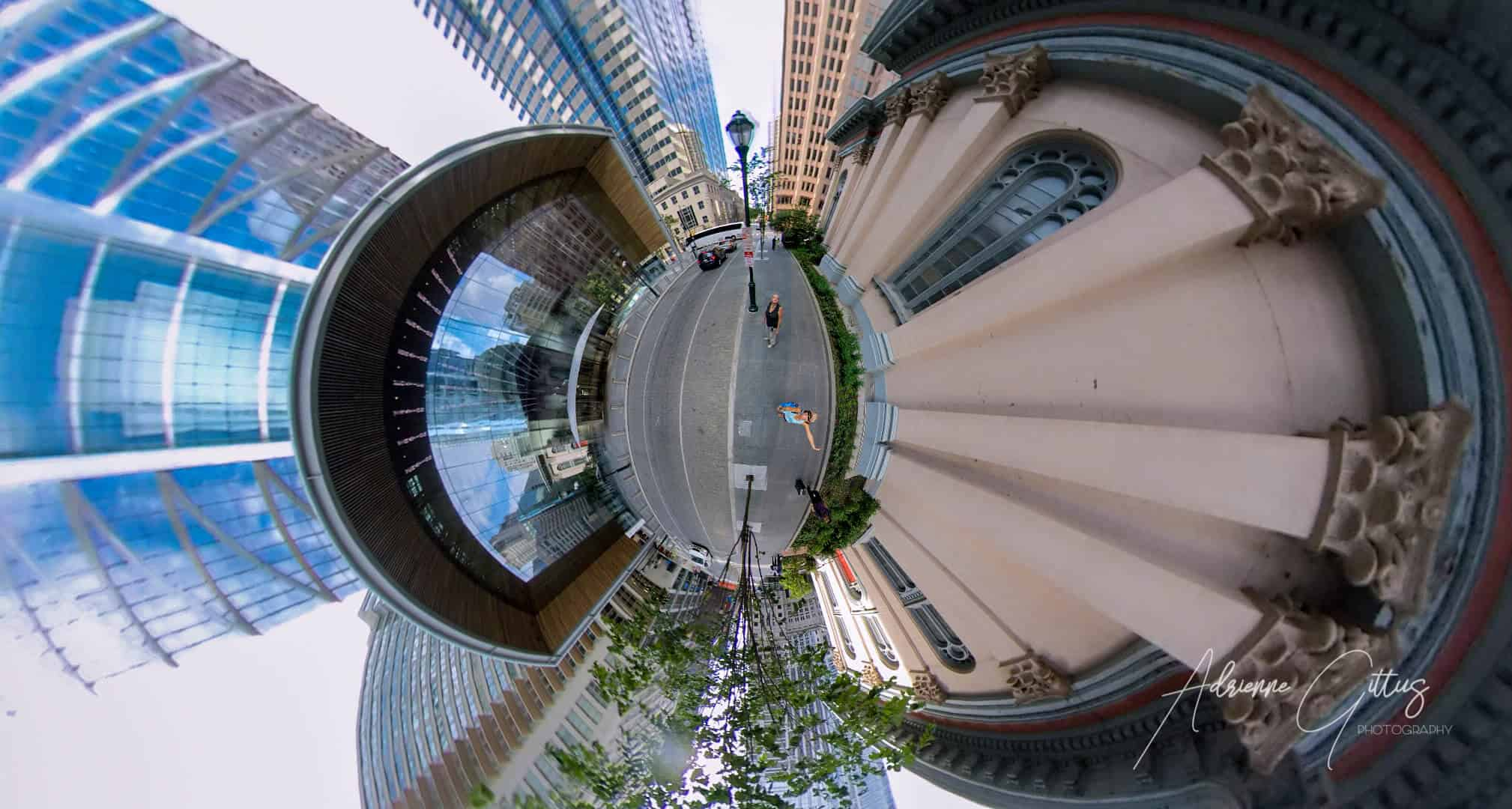 360 tiny planet of philadelphia city streets