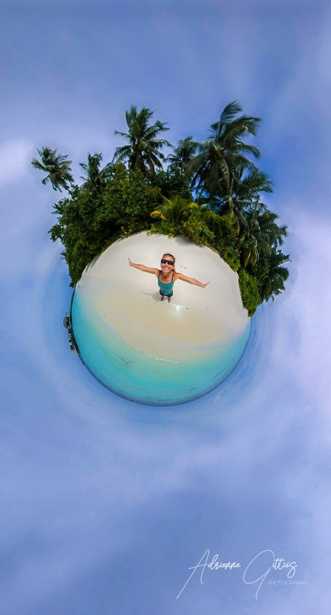 Can't beat a tropical island paradise, 36 tiny planet, white sandy beach, blue water, palm trees